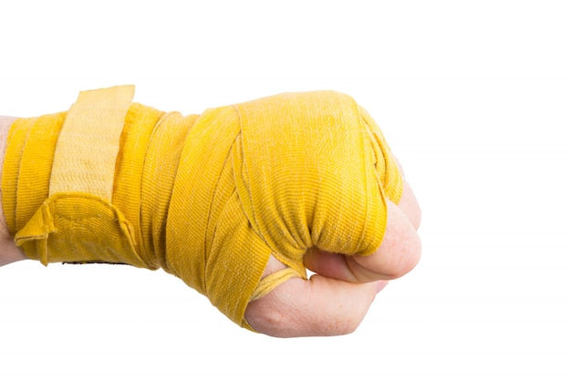 Boxer fist in bandage isolated Premium Photo