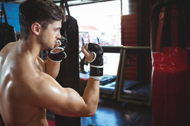 Boxer performing a boxing stance Free Photo