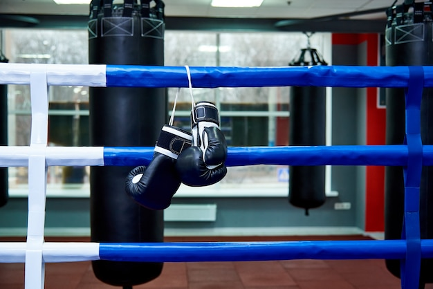 Boxing gloves in a boxing ring with bags in the gym. Premium Photo