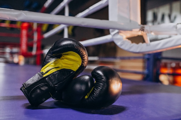 Boxing gloves lying on empty ring Free Photo