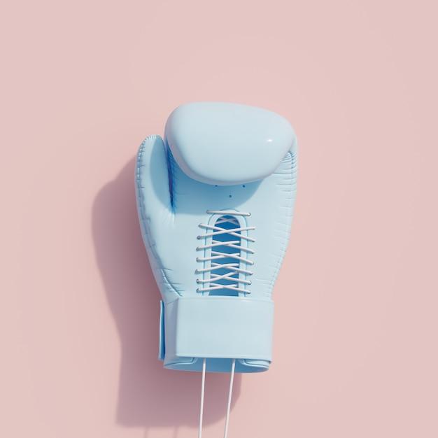 ピンク色の背景に青いboxingglove。最小限のスポーツコンセプト。 3dレンダリング。 Premium写真