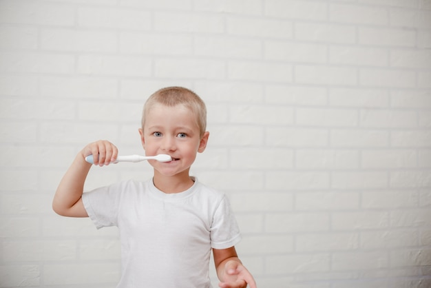 Boy cleaning teeth. little child with a brush white wall Premium Photo