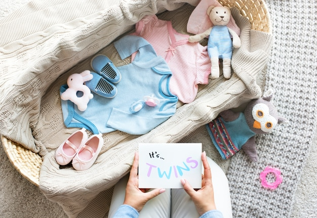 Boy and a girl baby twins baby shower concept Premium Photo