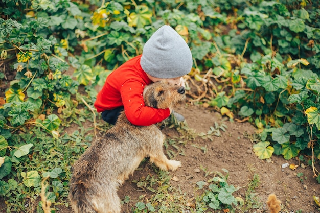 Boy met a little homeless puppy on the street Premium Photo