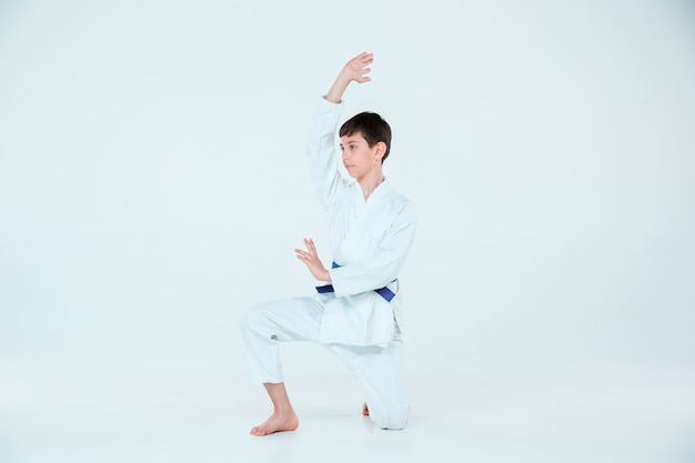 Boy posing at aikido training in martial arts school. healthy lifestyle and sports concept Free Photo