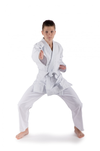 Boy posing with karate techniques in studio on white isolated Premium Photo