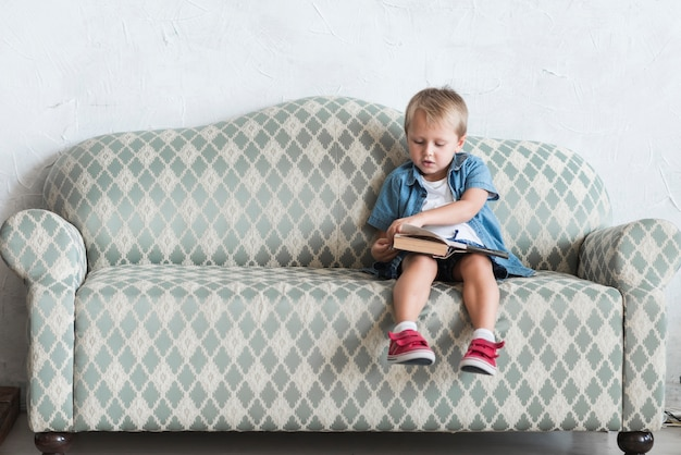 Boy sitting on sofa turning the pages of book Free Photo