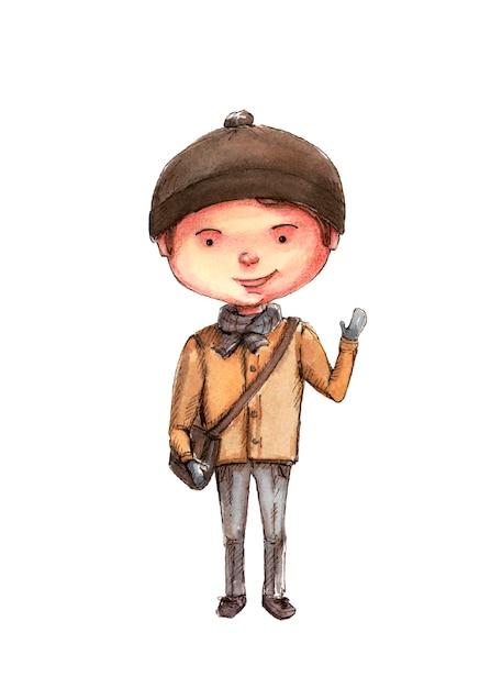 ブラウンバッグ、水彩でコートを着た男子生徒 Premium写真