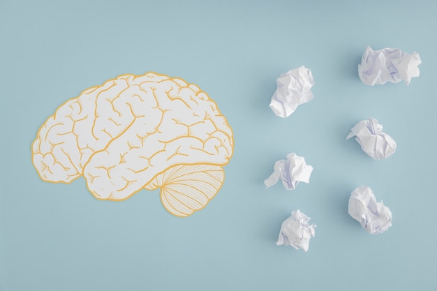 Brain cutout with white crumpled paper balls on gray background Free Photo