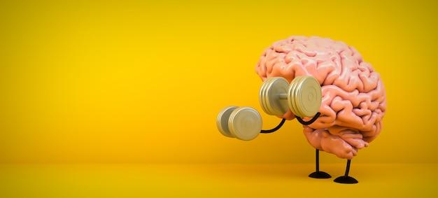 Brain training on yellow room, 3d rendering Premium Photo