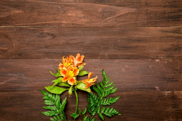 Branch of orange lilies on wooden background Free Photo
