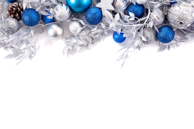 branches decoration with silver and blue christmas balls free photo - Blue Christmas Decorations