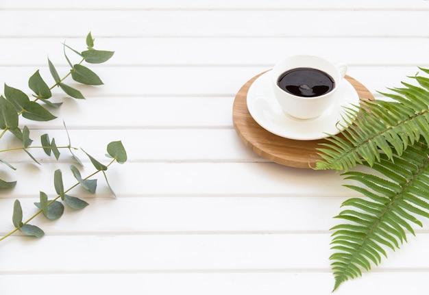緑のユーカリ、シダ、ブラックコーヒーのカップの枝。 無料写真