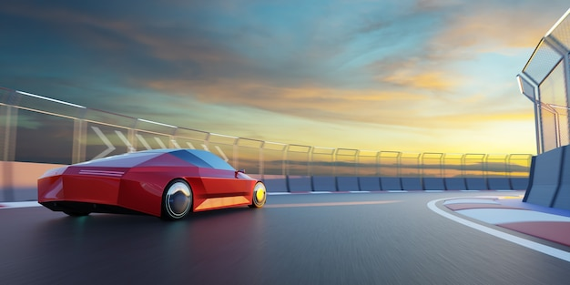 Brandless sport car run on the race track. 3d rendering with my own creative design. Premium Photo