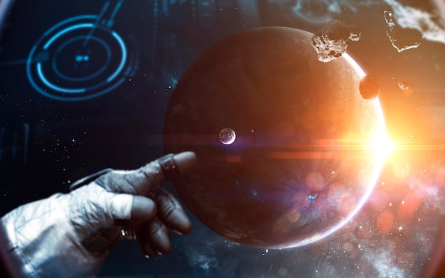 Brave astronaut at the spacewalk. people in space. elements of this image furnished by nasa Premium Photo