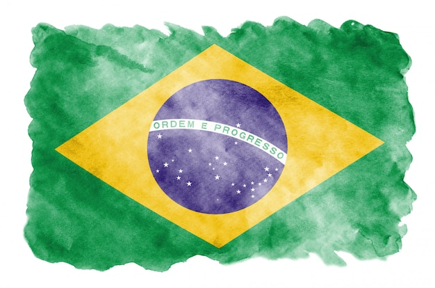 Brazil flag is depicted in liquid watercolor style isolated on white Premium Photo