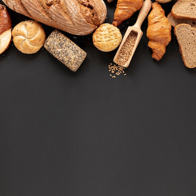 Bread and seeds with copy space Free Photo