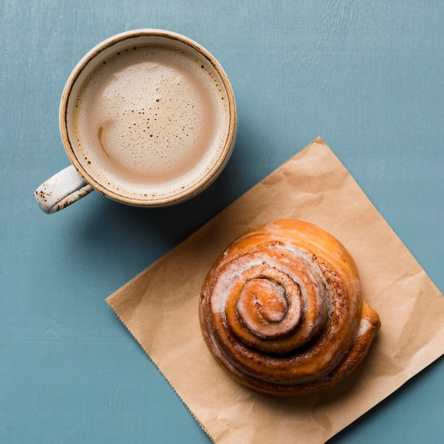 Breakfast assortment with coffee and pastry Free Photo