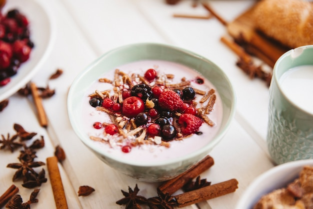 Breakfast decoration with yogurt Free Photo