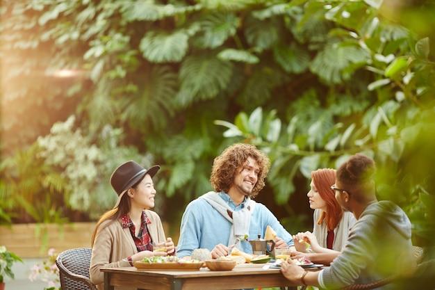 Breakfast in orangery Free Photo