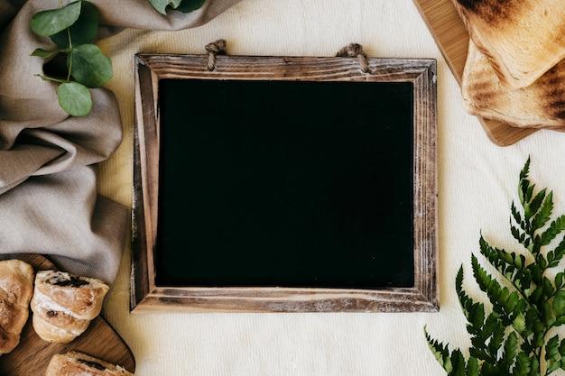 Breakfast, plants and blackboard Free Photo