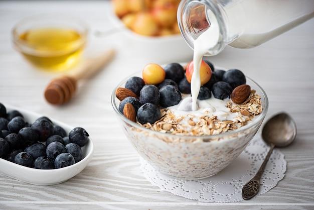 Завтрак с черникой и вишней и овсянкой Premium Фотографии