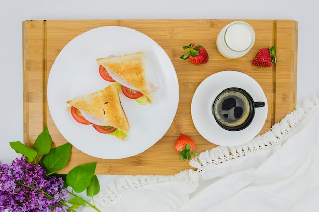 Breakfast with coffee cup and fruit Free Photo