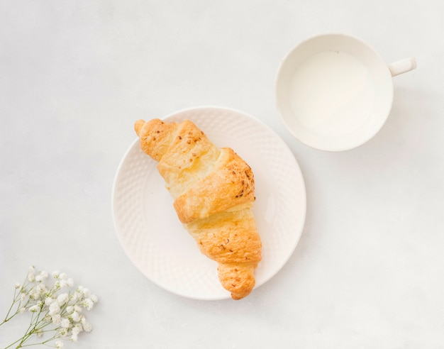 Breakfast with croissant Free Photo