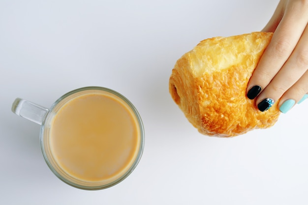Breakfast with french croissant and coffee Premium Photo
