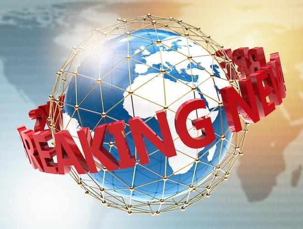 Breaking news on world map Premium Photo