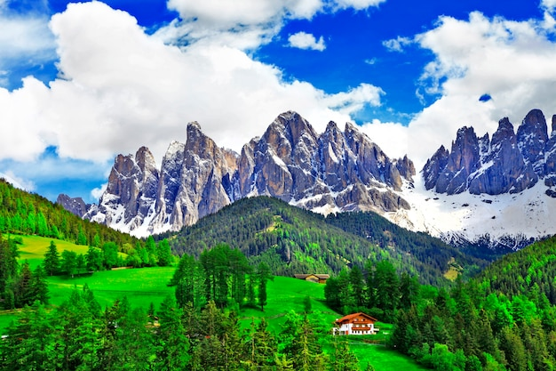 Dolomites의 숨막히는 자연. 이탈리아 알프스 프리미엄 사진