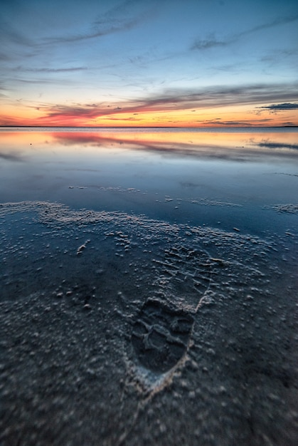 素晴らしい夕日の美しいビーチの息を呑むようなショット 無料写真