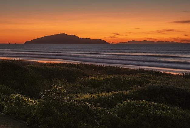 ニュージーランド北島のカピティコーストにあるオタキビーチの息をのむような夕日 無料写真