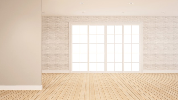 Brick wall decoration in empty room for apartment or hotel artwork Premium Photo