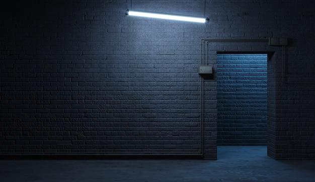 Кирпичная стена уличного фасада ночью Premium Фотографии