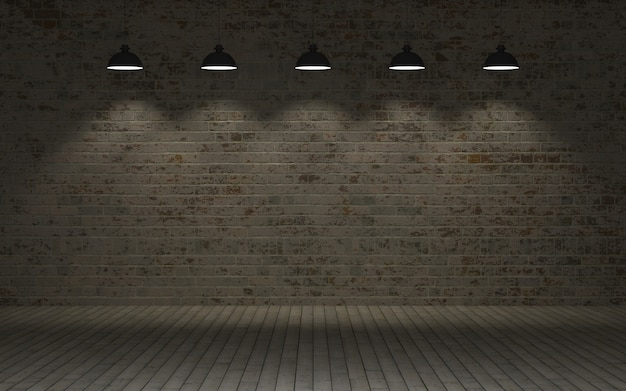 Brick wall with lamps Free Photo