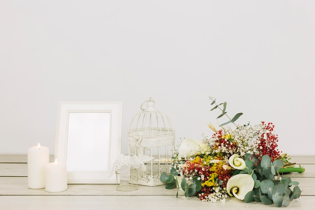 Bridal bouquet of flowers with frame Free Photo