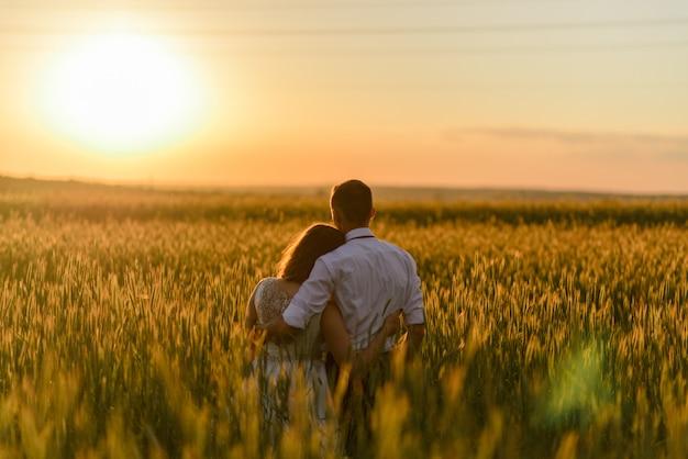 Жених и невеста в пшеничном поле. пара обнимает во время заката и смотрит вдаль спиной к камере. Premium Фотографии