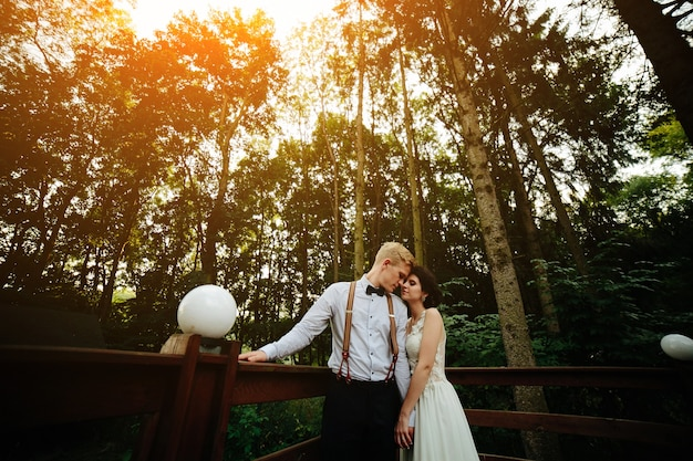 自然のどこかでベランダでポーズをとる新郎新婦 無料写真