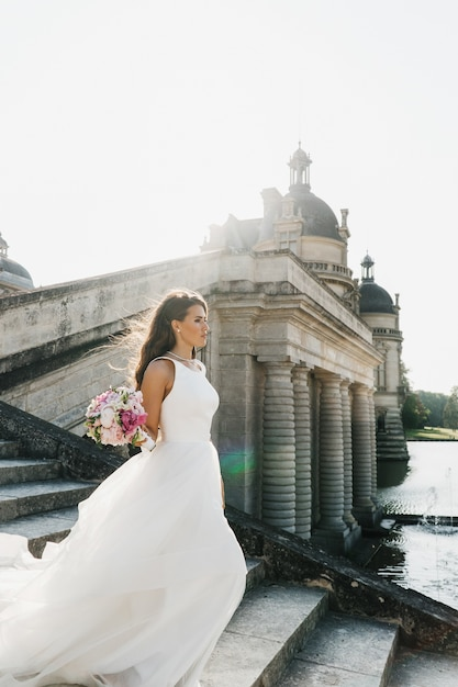 Bride goes downstairs before the columns over the river in paris Free Photo