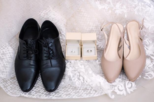 Bride and groom accessories preparation for wedding concept. Premium Photo