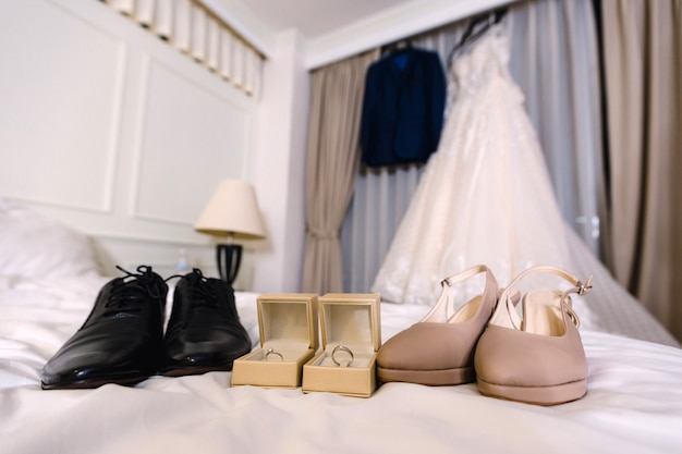 Bride and groom accessories preparation for wedding concept. Premium Photo