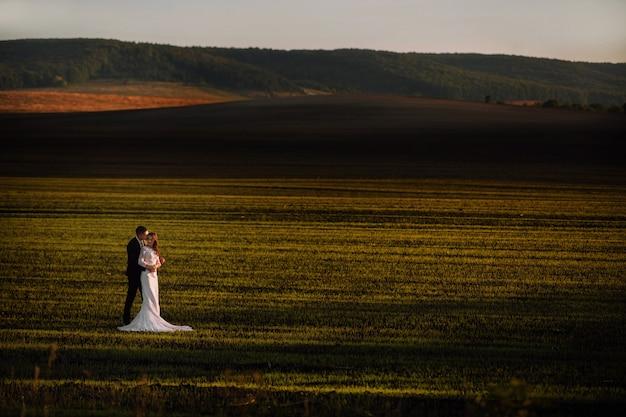 Невеста в объятиях жениха в весенних полях и голубое небо Premium Фотографии