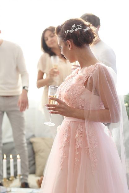 Bride in pink dress Free Photo