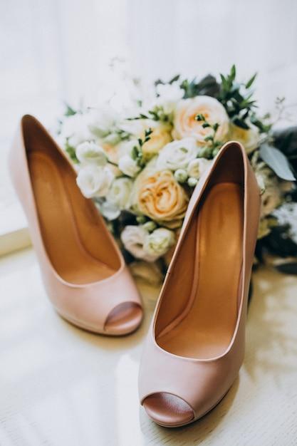 Bride's wedding shoes Free Photo