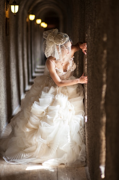 Bride with beautiful dress Free Photo