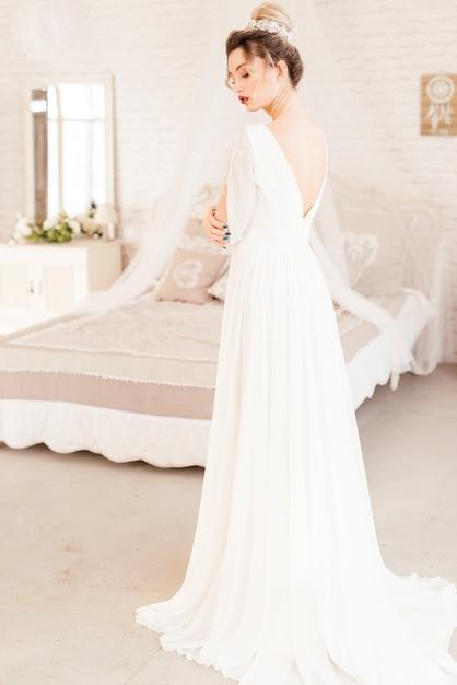 Bride with wedding dress Free Photo