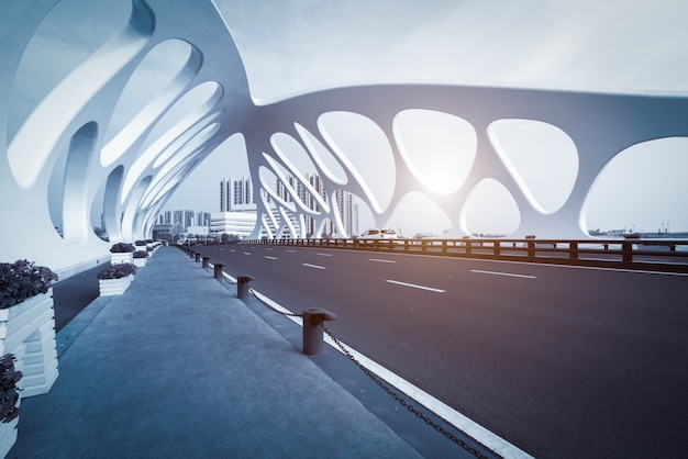 Bridge structure of modern urban architecture Premium Photo