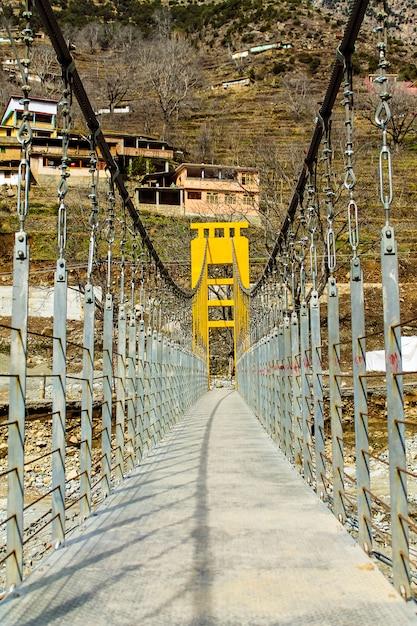Bridge of swat river  kalam swat scenery landscape Premium Photo