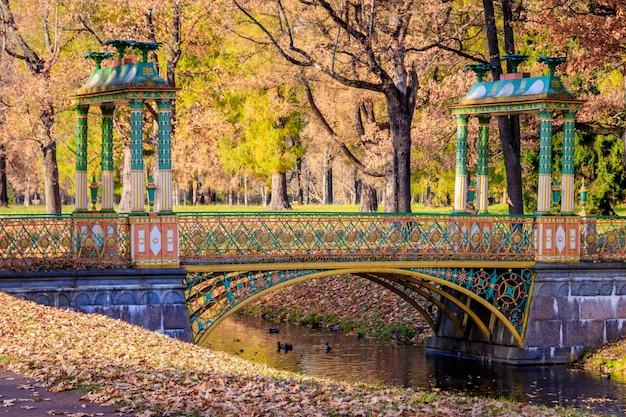 Bridges city autumn park. golden autumn . autumn in the park. yellow foliage. Premium Photo